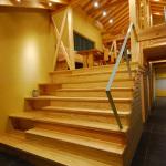 大階段&土間ギャラリー(2):小さな家ですが、あえて幅270cmの大階段。2階リビングというよりは、家の中に丘を造るという感覚で高さは165cmの9段です。 壁側は本棚にして、階段を昇降しながらふと本を手に取り、段に座って読書をしたり、時にはギャラリーのようにも使えます。また、向かいのベンチに座った人と会話がはずんだりと、色々なことが出来ます。 さらに階段下は大きな収納にもなっています。